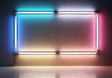 霓虹灯背景和边框元素