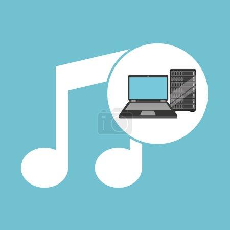 音乐笔记本电脑数据服务器矢量图 eps