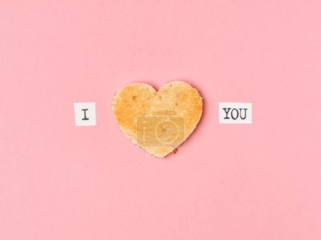 I love you words and toasted heart
