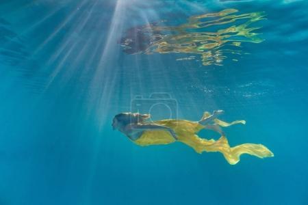 泳池泳衣中迷人年轻女子的水下图片