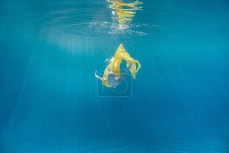 泳池泳衣中美丽少女的水下图片