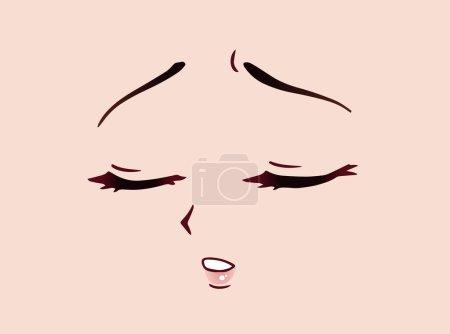 Sad anime face. Manga style closed eyes, little nose and kawaii mouth. Hand drawn vector cartoon illustration.
