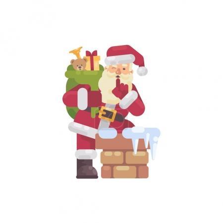 圣诞老人带着一袋礼物爬上烟囱。圣诞人物平面插图