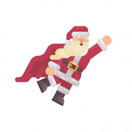 在一个超级英雄斗篷上飞圣诞老人圣诞人物平面插图