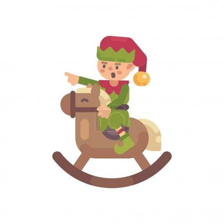可爱的圣诞精灵骑着摇摆的马。圣诞老人精灵扁字插图