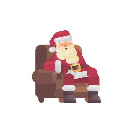 疲倦的圣诞老人在送礼物后睡在扶手椅上。圣诞人物平面插图