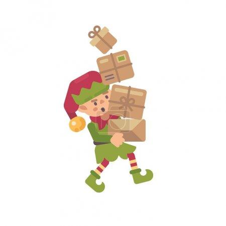 可爱的忙碌的圣诞精灵带着礼物带给孩子们。假日字符平面图