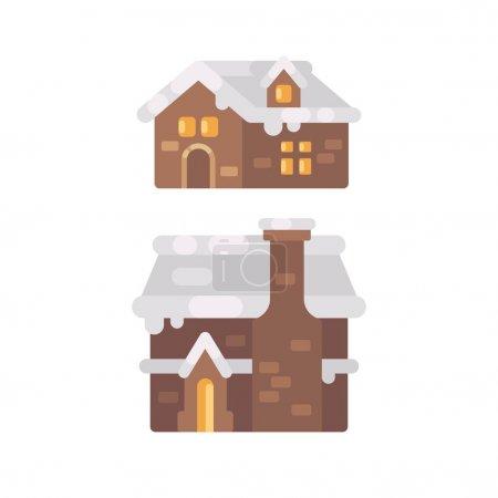 两个冬天的房子被雪覆盖着。圣诞节姜饼房子平面插图