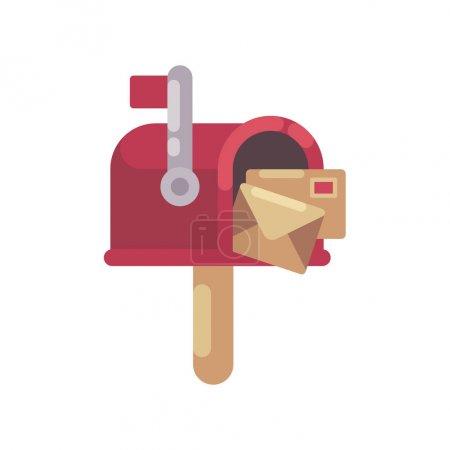 带字母的红色邮箱平面图。圣诞邮箱图标