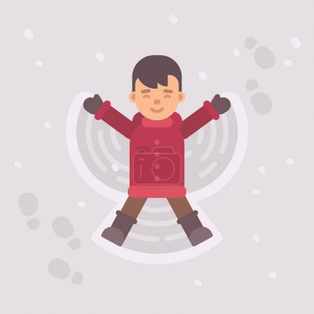 小男孩做一个雪天使。冬天孩子平的例证