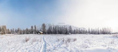 美丽的冬天风景和村庄在农村, jakutia