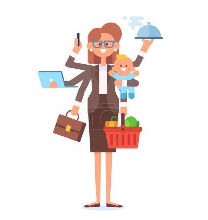 多任务的女人商业妇女和家庭主妇-母亲与婴孩, 工作, 烹调和做购物。矢量平面卡通插图