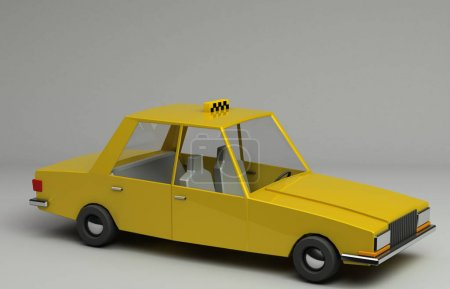 3d rendering of funny retro styled yellow taxi. Glossy bright  vehicle on grey background with realistic shadows. Three-quarter view from above