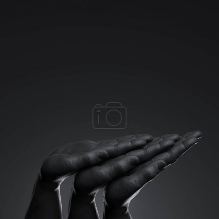 Realistic black human hands with empty space as showcase isolated on black background. 3d rendering