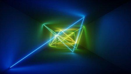 3d 渲染, 激光显示, 夜总会室内灯, 蓝色绿色发光线, 抽象荧光背景, 房间, 走廊