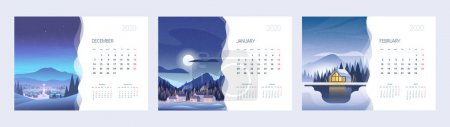 Calendar for 2020 with an illustration of nature. Three months of spring. A4 paper size format.