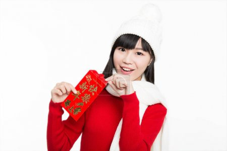 beautiful girl holding red envelope happily,white background,studio shot.