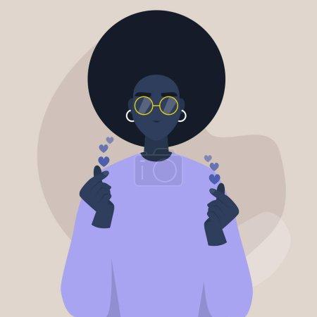 年轻的非洲女性角色表现出手指心脏的迹象,随后