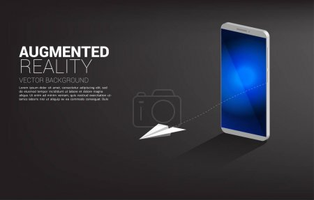 飞机纸纸折纸从3D-手机上飞走。强化现实技术的概念_高清图片_邑石网