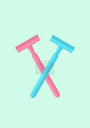 Pastel pink and blue blade razors minimal concept on light green background