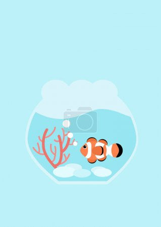 Flat design illustration Clown fish and red coral in fishbowl