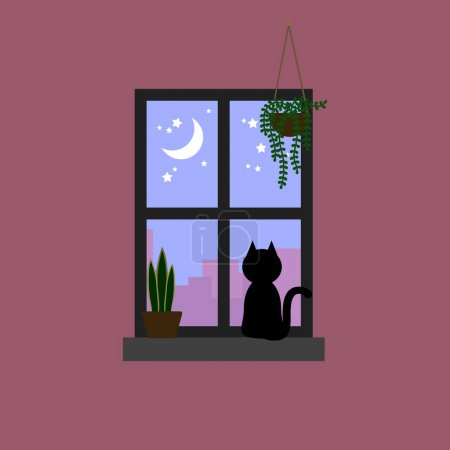 Black cat staring the moon and star on pastel purple sky through window decorated with house plants