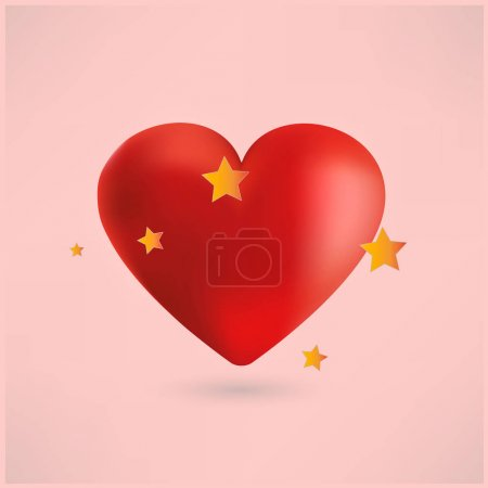 Red heart with stars