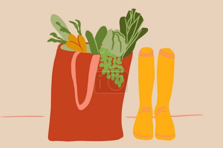 Yellow rubber boots and shopping bag full of fresh food