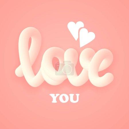 love you. 3d design. vector illustration