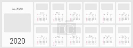 2020 monthly wall calendar. Vector simple design