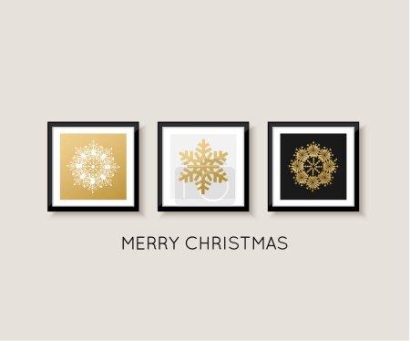 美术馆的墙上,圣诞快乐和新年快乐卡设计。雪花矢量图