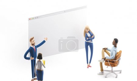 Concept of creative team. 3d illustration.  Cartoon characters. A team of young professionals working on a landing page