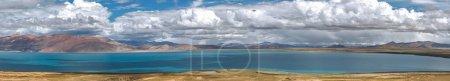 A wonderful panorama of a beautiful mountain lake in Tibet.