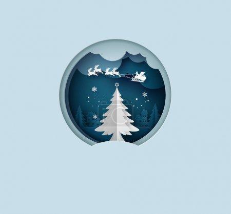 快乐圣诞贺卡与折纸作圣诞树