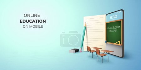 Digital Classroom Online Education internet and blank space on phone, mobile website background. social distance concept. decor by book pencil eraser Student desk table chair. 3D vector Illustration.