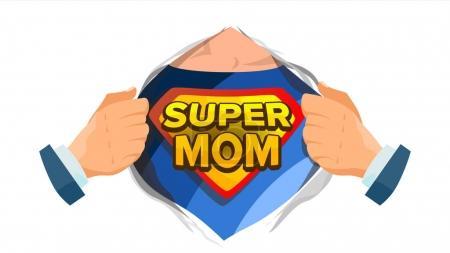 超级妈妈符号向量。母亲节。超级英雄打开带盾牌徽章的衬衫。独立平面卡通漫画插画