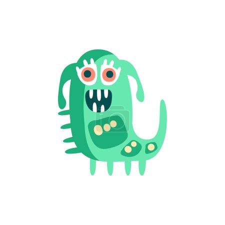 可爱的酷卡通怪物脸.绿色微笑怪物头像万圣节矢量图