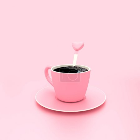 Coffee pink cup on pink pastel background minimal concept