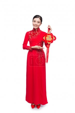Full length of a beautiful Asian woman on traditional festival c