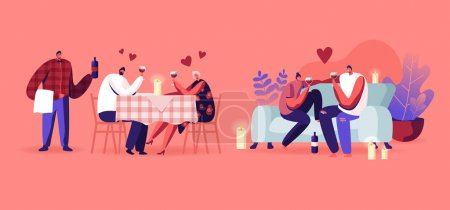 Set of Loving Couple Having Romantic Date at Home and Restaurant. Man and Woman Sitting at Table with Candles Waiter Bringing Wine, Boyfriend and Girlfriend on Couch. Cartoon Flat Vector Illustration