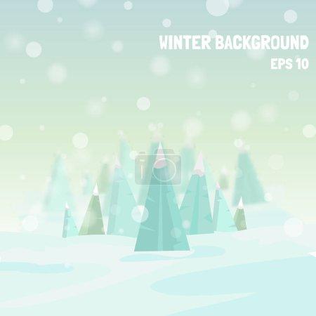 矢量冬天背景。节日冬天模板与圣诞树、 雪花和散景效果。矢量冬天模糊背景。冬天的插图