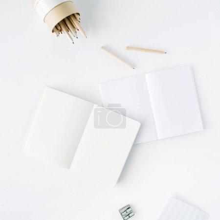 清洁的空白写生、 铅笔和卷笔刀