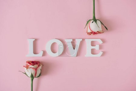 LOVE with two roses against pink background. Nature flowers concept. Minimal Valentines day.