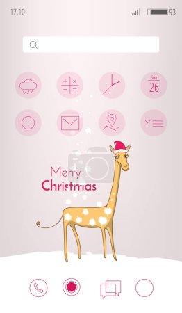 垂直圣诞贺卡与有趣的动物形象.高大的长颈鹿覆盖着雪的斑点.矢量图.