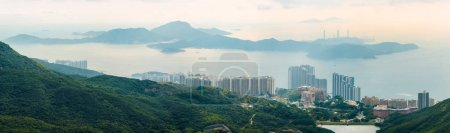 Lamma Island and Cyberport viewed from Victoria Peak scenic panoramic landscape, Hong Kong