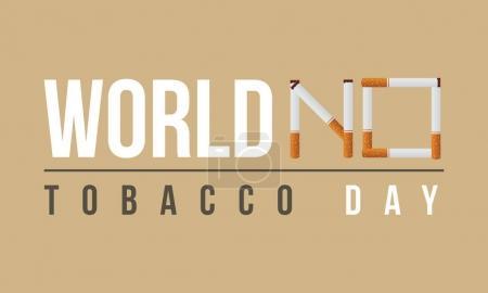 世界无烟日矢量平坦的背景