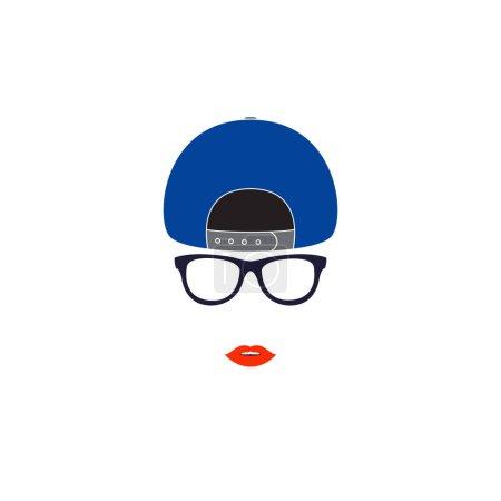 戴棒球帽的时尚女孩.矢量图